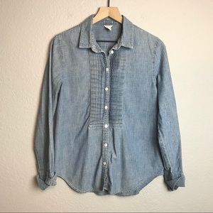 J.Crew Chambray Tuxedo Front Button Up Shirt